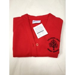 A Girls EMBROIDERED LOGO Red Sweat Cardigan