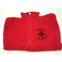 Red EMBROIDERED LOGO Fleece Jacket