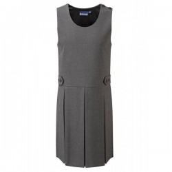 Pinafore Dress - Grey, Button Style