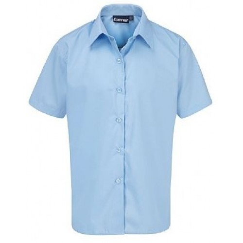 Girls School Shirts - Pale Blue - Short Sleeve