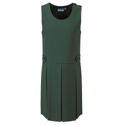 Pinafore Dress - Green, Button Style