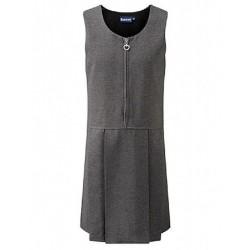 Pinafore Dress - Grey, Zip Style