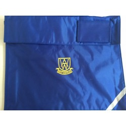 West Ashtead blue  book bag with logo