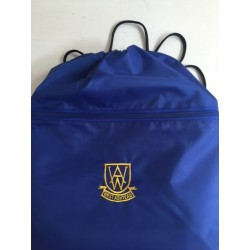 West Ashtead blue  PE bag with logo